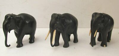 Three Vintage Black Hand Carved Ebony Elephants