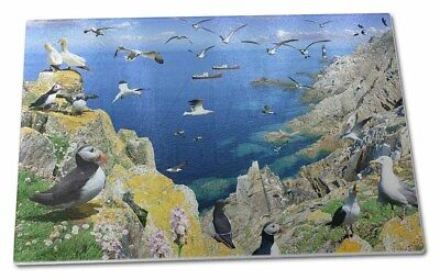 Puffins and Sea Bird Montage Large Glass Cutting Chopping Board, AB-93GCBL