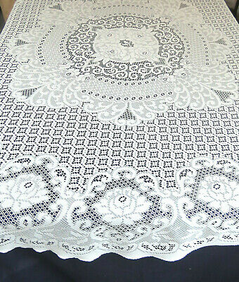 Vintage Sears Quaker Style Lace Tablecloth 72 Round Roses Beige Polyester