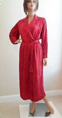 Vintage Red Paisley Silk Robe~Belted,Pockets,Button Cuffs~Size S
