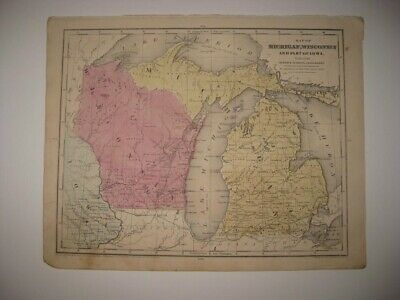 Early Vintage Antique 1853 Wisconsin Michigan W Northern Peninsula Handcolor Map
