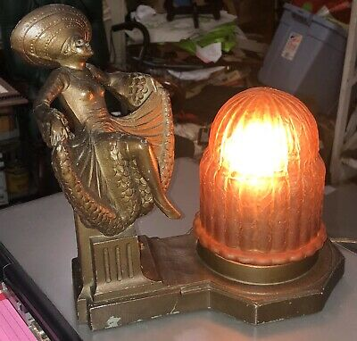 Antique Apt Ny Art Deco Dancing Woman Lamp Crackle Glass Amber Shade