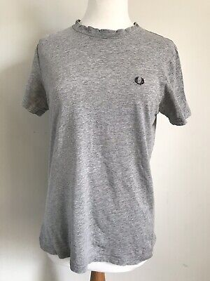 Fred Perry Distressed T Shirt - Grey Marl - Size Small S 38