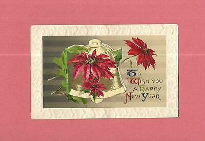 POINSETTIAS, BELL On Beautiful Fold-Out WINSCH Vintage 1910 NEW YEAR Postcard
