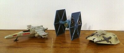 loose lot of 3 vintage Star Wars Micro Collection X-wing TIE fighter Snowspeeder