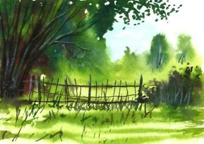 ACEO woodland fence painting original trees landscape watercolour art card