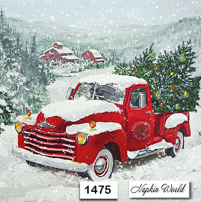 (1475) TWO Individual Paper Luncheon Decoupage Napkin - CHRISTMAS RED TRUCK TREE