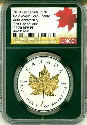 2019 Canada $20 Gilt Gold Maple Leaf Incuse 40th First Day Of Issue NGC PF70 COA