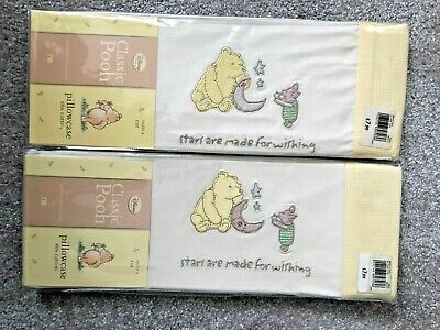 2 x BNWT, Classic Pooh, Cotton Pillow Cases (To Fit A Cot)