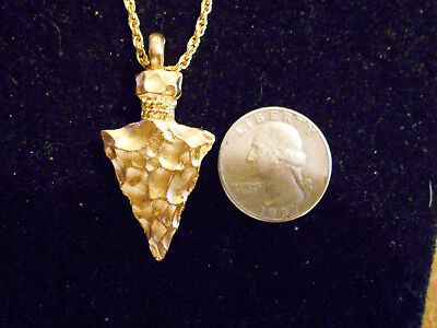 bling gold plated tribal indian arrowhead pendant charm hip hop necklace jewelry