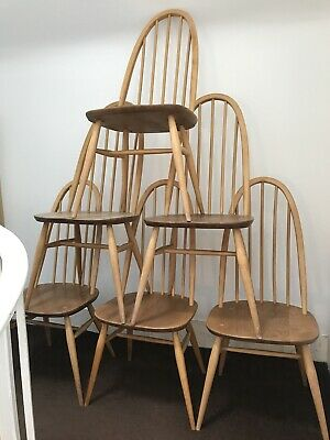 Six Blonde Ercol Vintage Retro Mid Century Quaker Chairs
