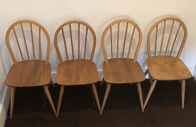 Four Blonde Ercol Vintage Retro Mid Century Hoop Back Windsor Chairs Model 400