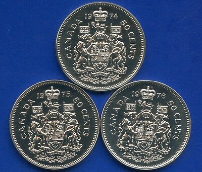 3 Canada Uncirculated 50 Cent Coins 1974 1975 & 1976