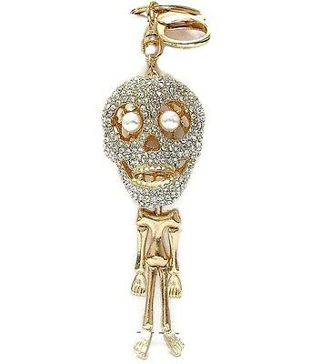 Skeleton Key Chain Paved with Clear Crystals Halloween