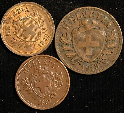 Switzerland Rappen 1887 , 1929 and 2 Rappen 1918 (Tray 93)