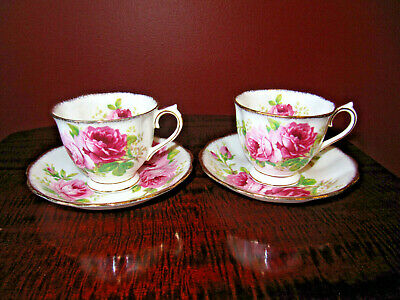 Royal Albert American Beauty Bone China England Gold Trim Cup/Saucer (2)