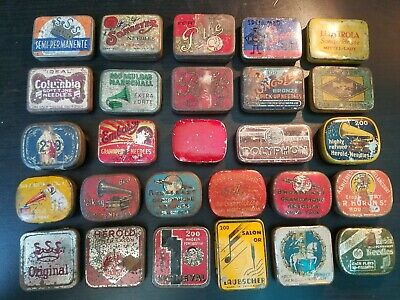Collection 27 gramophone phonograph needle tins empty