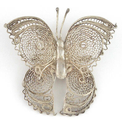 * 1920-40s - MEXICO - ANTIQUE BUTTERFLY FILIGREE STERLING SILVER PIN / BROOCH