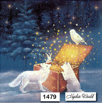 (1479) TWO Individual Paper Luncheon Decoupage Napkins - CHRISTMAS ANIMALS STARS