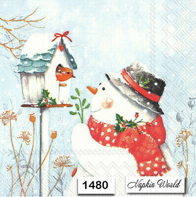 (1480) TWO Individual Paper Luncheon Decoupage Napkins - CHRISTMAS SNOWMAN BIRD