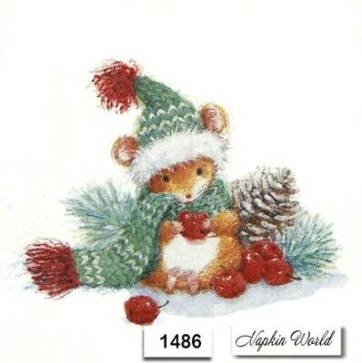 (1486) TWO Individual Paper Luncheon Decoupage Napkins - CHRISTMAS MOUSE