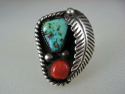 OLD NAVAJO STERLING SILVER LEAF & TURQUOISE RED CORAL RING sz 7
