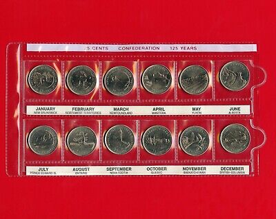 1992 Canada's 125th Confederation 25 Cent Set Of 12 Coins Uncirculated In Sleeve