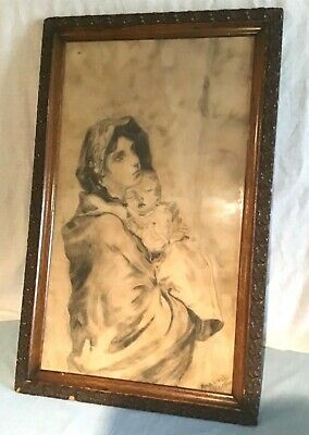 Old Antique Charcoal Art Sketch of Mother and Child Dated 1900 Uniquely Framed