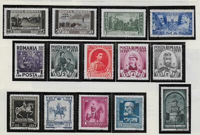 14 Romania Stamps from Quality Old Album 1937-1939