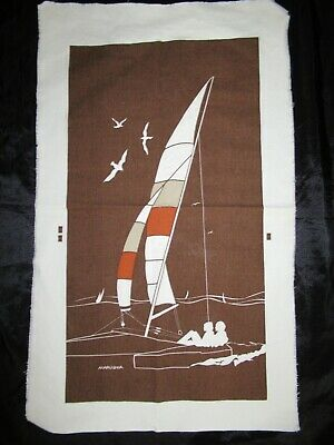 "MARUSHKA sailboat VTG MID-CENTURY SILK SCREEN FABRIC ART PRINT 27""x 14 1/2"""