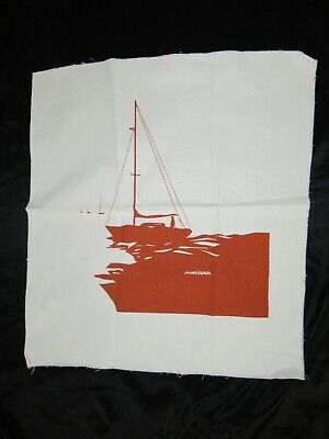 "MARUSHKA sailboat VTG MID-CENTURY SILK SCREEN FABRIC ART PRINT 16""x 14"""