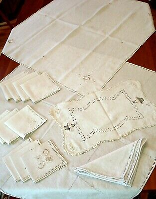 Vintage Off-White Linen Table Covers & Napkins Embroidered Lot of 14