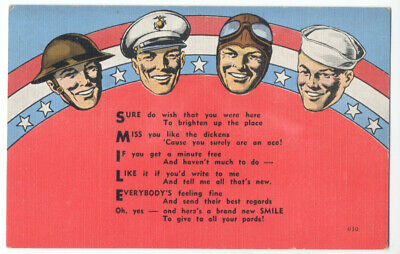PATRIOTIC WWII Army, Marines, Air Force, Navy & Poem SCARCE ca1942 Linen