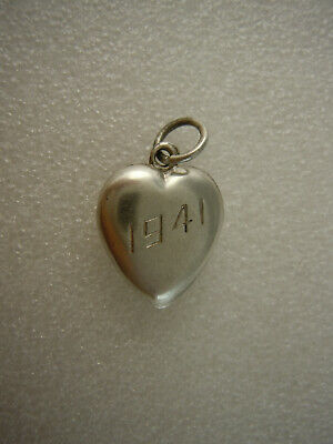 Antique Puffy Heart Sterling Silver Charm -  1941 Engraved Don