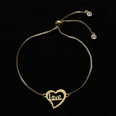 Fashion Womens Jewelry Stainless Steel Hollow Love Heart Bracelet Mother's Day