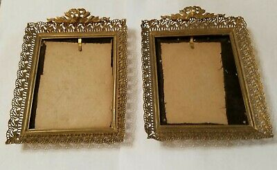 Pair Ornate Antique Miniature Brass Bow Top Picture Frames - No Glass - 6""