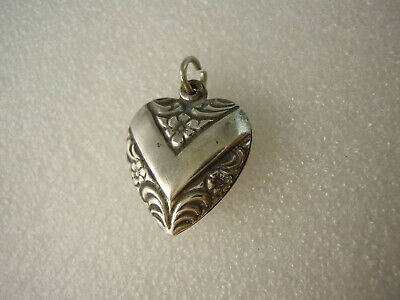 Antique Puffy Heart Sterling Silver Charm -  Heart Ribbon V - Flowers