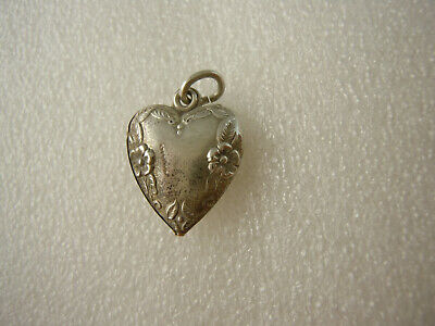 Antique Puffy Heart Sterling Silver Charm -  Flowers, Leaves on Edge