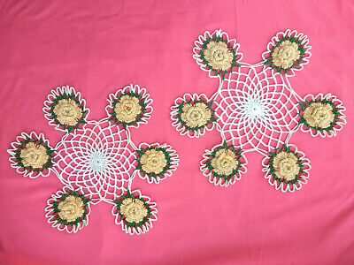 """Vintage Crocheted 12"""" Doily Floral Centerpiece Yellow Roses Green White Pair"""