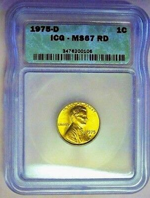 1975-D Icg Ms 67 Rd Lincoln Memorial Cent! *Denver Mint* High Grade! Tone On Rev