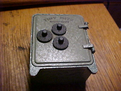 Antique metal SAFE Bank TINY MITE,BULLS EYE ARROW,USA WITH COMBO Still Bank