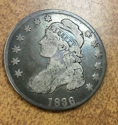 1836  Capped Bust Half Dollar  O-107 R4  from old collection F/VF