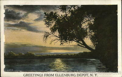 Ellenburg Depot,NY Greetings From Clinton County New York Antique Postcard