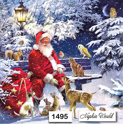 (1495) TWO Individual Paper Luncheon Decoupage Napkins - CHRISTMAS SANTA BENCH