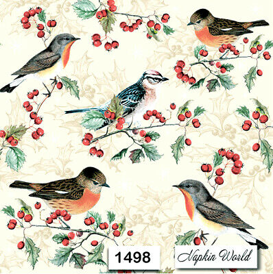 (1498) TWO Individual Paper Luncheon Decoupage Napkins - CHRISTMAS BIRDS HOLLY