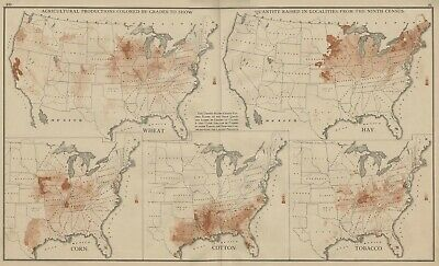 FIVE US Maps showing Agricultural Production from 1870 Census: Authentic 1874