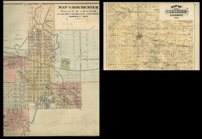 Rochester MN Street Map Hand Color Plus Olmsted County Authentic 1874 Back2Back