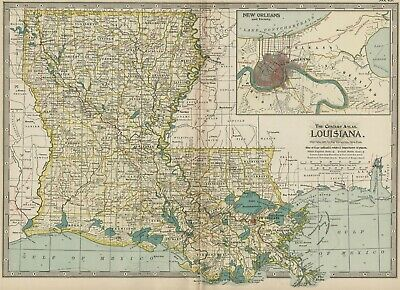 Louisiana Map: Authentic 1897 (Dated) Towns, Counties, Railroads, Topography