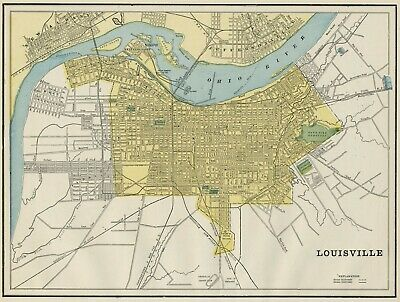Louisville Kentucky Street Map: Authentic 1887; Stations, Landmarks & more