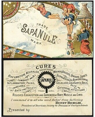 Chinese Acrobats SAPANULE Medical Quack Cure VICTORIAN Trade Card 1880's